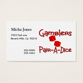 Gamblers Pair A Dice Business Card