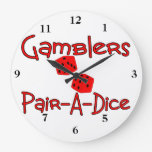 Gamblers Pair A Dice Wallclock