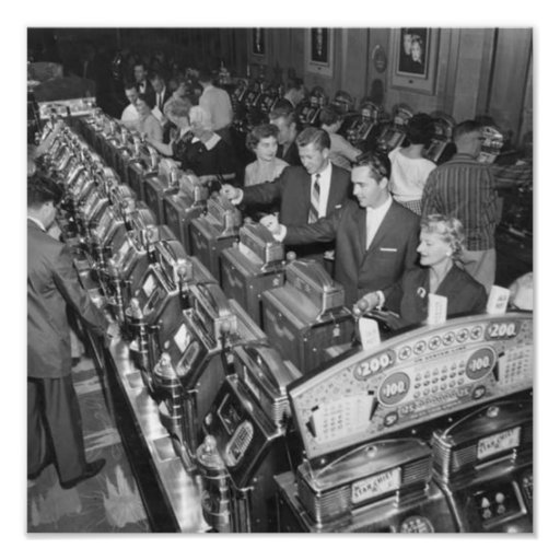 Gamblers play five-cent Star Chief slot machines Photo Print