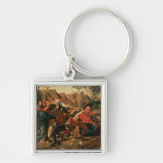 Gamblers Quarrelling Silver-Colored Square Keychain