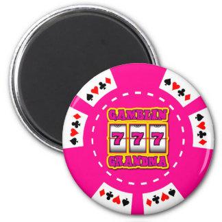 GAMBLIN GRANDMA POKER CHIP 2 INCH ROUND MAGNET