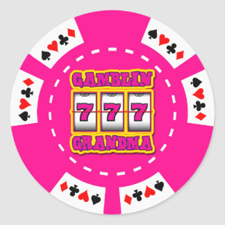 GAMBLIN GRANDMA POKER CHIP CLASSIC ROUND STICKER