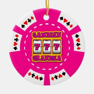 GAMBLIN GRANDMA POKER CHIP ORNAMENT