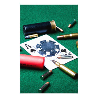 Gambling cards and bullets