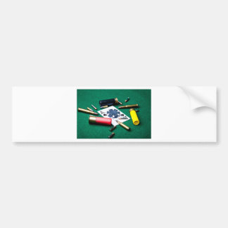 Gambling cards and bullets bumper sticker