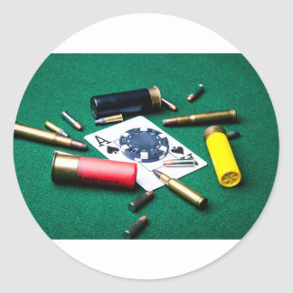 Gambling cards and bullets classic round sticker