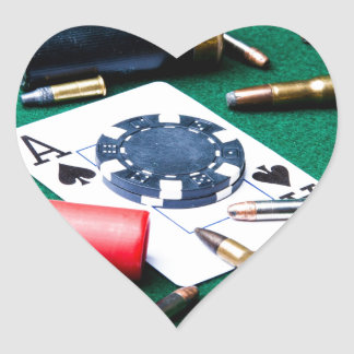 Gambling cards and bullets heart sticker
