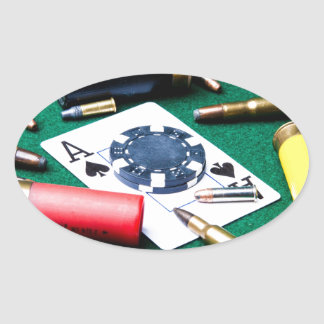 Gambling cards and bullets oval sticker