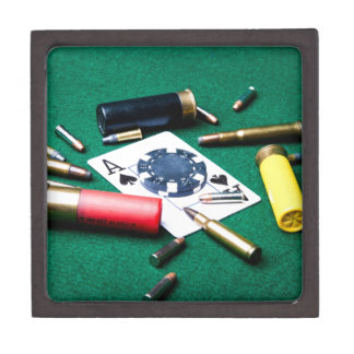 Gambling cards and bullets premium trinket boxes