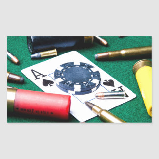 Gambling cards and bullets rectangular sticker