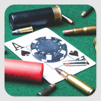 Gambling cards and bullets square sticker
