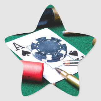 Gambling cards and bullets star sticker