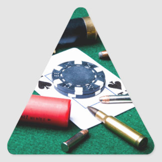 Gambling cards and bullets triangle sticker