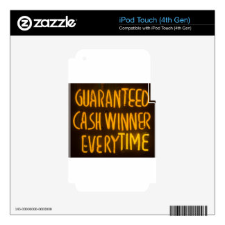 Gambling Casino Cash Winner Sign Neon Lights Decal For iPod Touch 4G