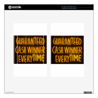 Gambling Casino Cash Winner Sign Neon Lights Decal For Kindle Fire