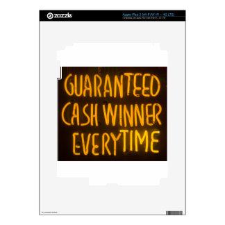 Gambling Casino Cash Winner Sign Neon Lights iPad 3 Skin