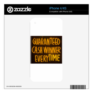 Gambling Casino Cash Winner Sign Neon Lights iPhone 4S Skins