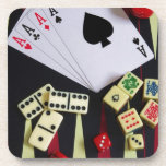 Gambling casino gaming pieces beverage coaster