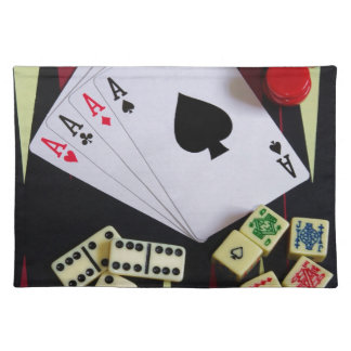 Gambling casino gaming pieces cloth place mat