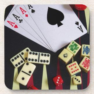 Gambling casino gaming pieces beverage coaster