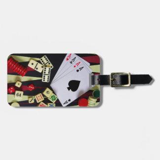 Gambling casino gaming pieces luggage tag