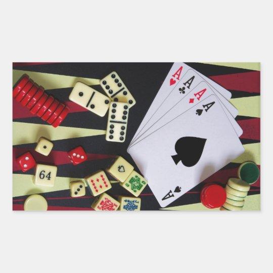 Gambling casino gaming pieces rectangular sticker