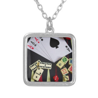 Gambling casino gaming pieces silver plated necklace
