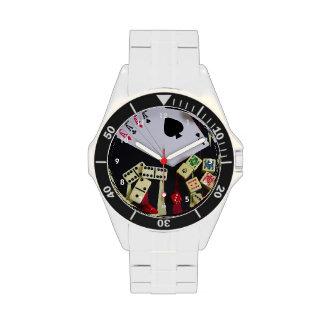 Gambling casino gaming pieces wrist watch