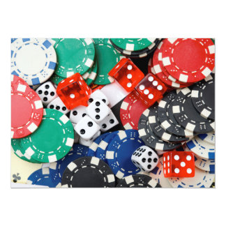 Gambling Chips and Dice Pile Card
