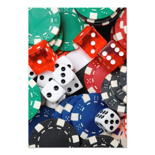 Gambling Chips and Dice Pile Personalized Invite