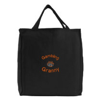 Gambling Granny Embroidered Bag