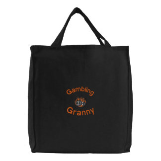 Gambling Granny Embroidered Bag