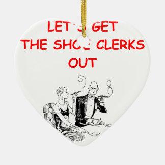 gambling joke Double-Sided heart ceramic christmas ornament