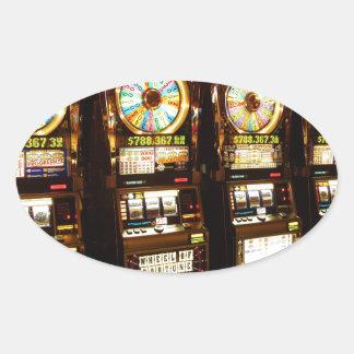 Gambling Machine One Armed Bandit Money Las Vegas Oval Sticker