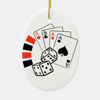 GAMBLING MONTAGE Double-Sided OVAL CERAMIC CHRISTMAS ORNAMENT