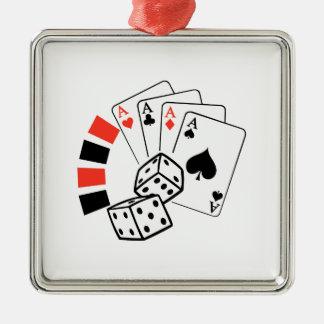 GAMBLING MONTAGE SQUARE METAL CHRISTMAS ORNAMENT