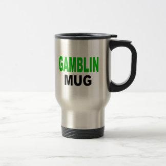 "Gambling Mug, mug gift. Text reads, ""GAMBLIN MUG"""