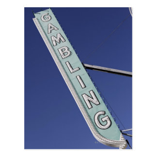 Gambling neon sign in Las Vegas, Nevada Postcard