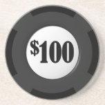 Gambling Poker Chip Sandstone Beverage Coaster