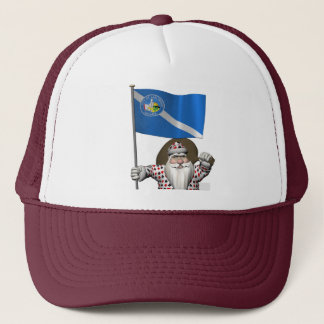 Gambling Santa Claus With Ensign Of Las Vegas Trucker Hat