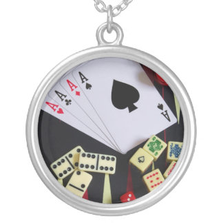 gambling silver plated necklace