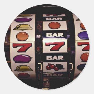 Gambling, slot machines classic round sticker