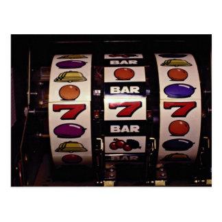 Gambling, slot machines postcard