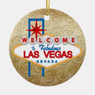 Gambling - Vegas Double-Sided Ceramic Round Christmas Ornament