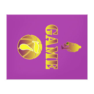 GAME 7 BY J-MO-NET-GOLD/PURPLE CANVAS PRINT