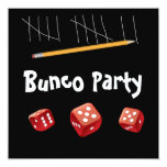 """Game and Bunco Invitation 5.25"""" Square Invitation Card"""