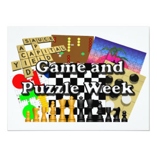 Game and Puzzle Week 5.5x7.5 Paper Invitation Card