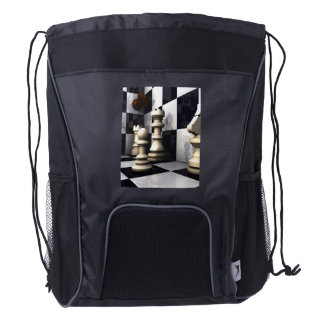 Game Chess Hobby Drawstring Backpack