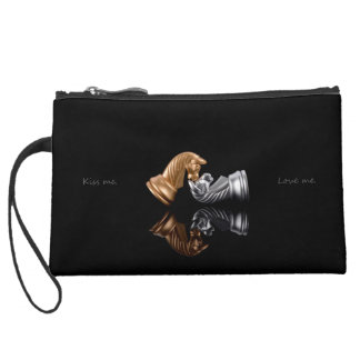 Game Chess Play Suede Wristlet Wallet