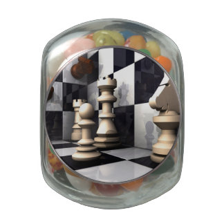 Game Chess Style Glass Jar